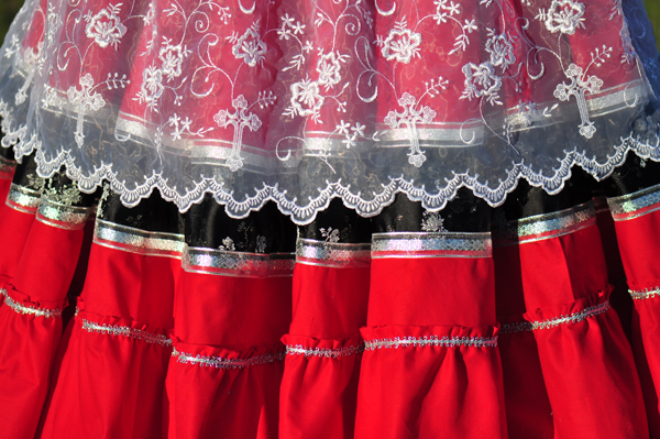 Detail of skirt and apron.