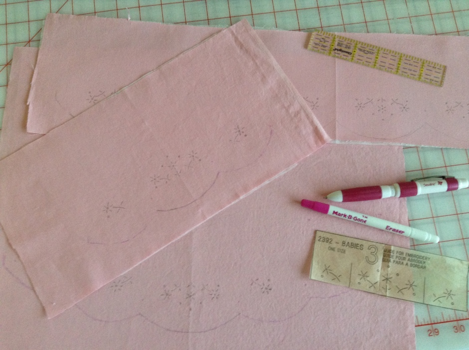 Embroidery details - marked and ready to go