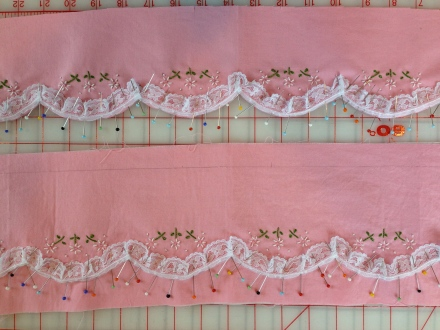 Different ways to attach lace edging.