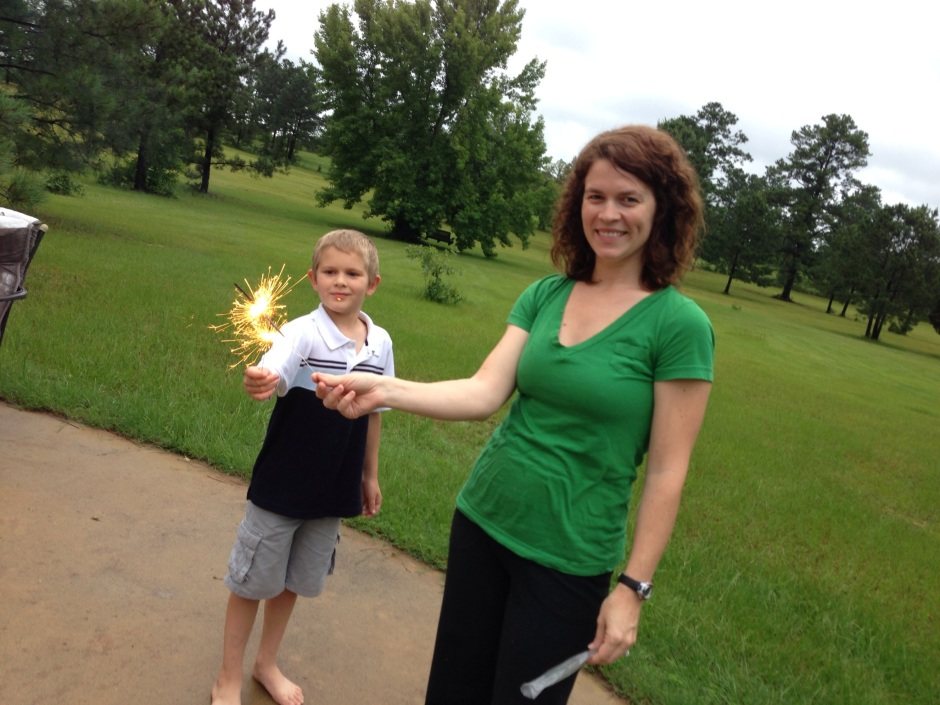 Sara and William with sparklers