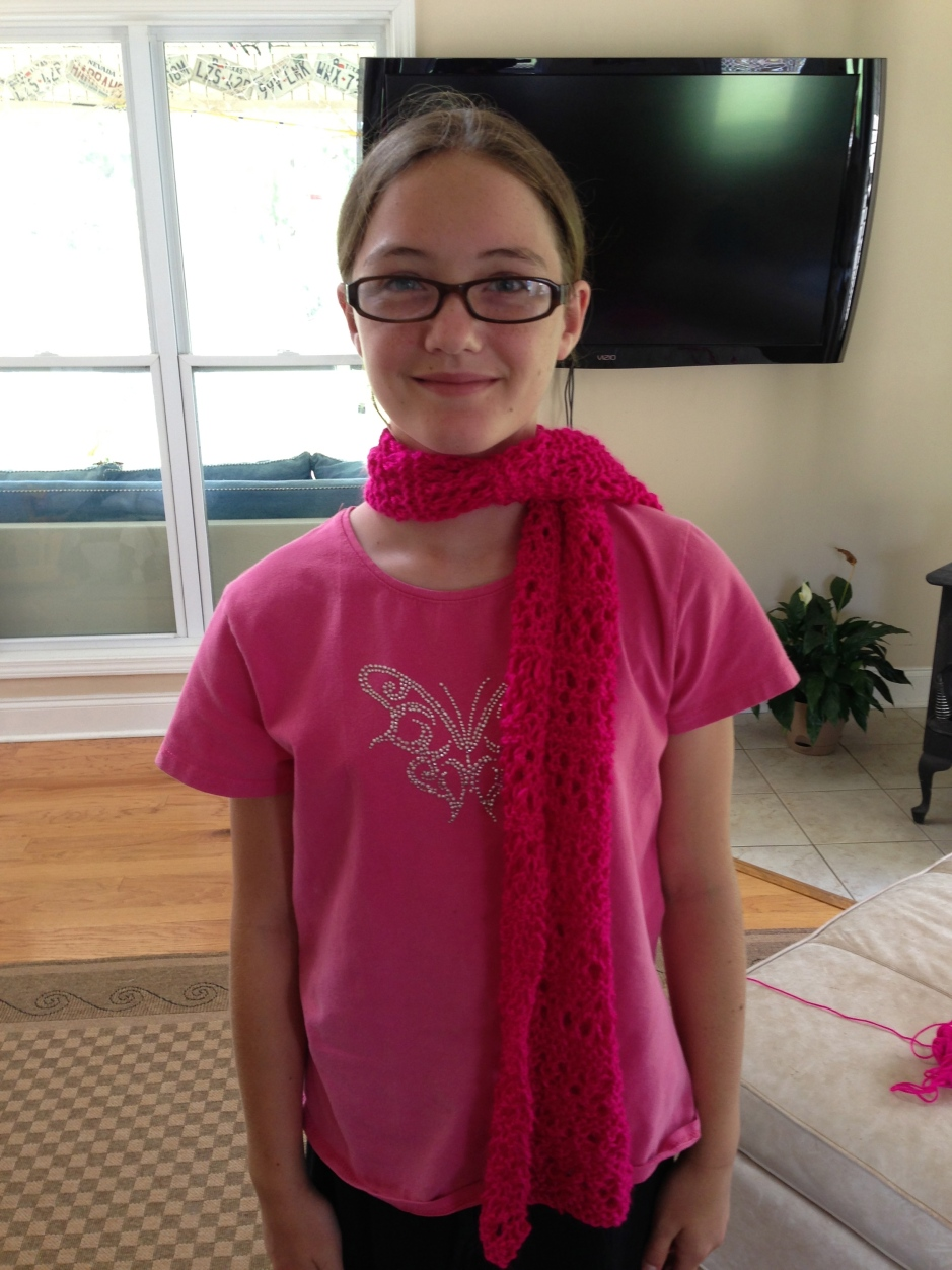 Abby and her finished lace scarf