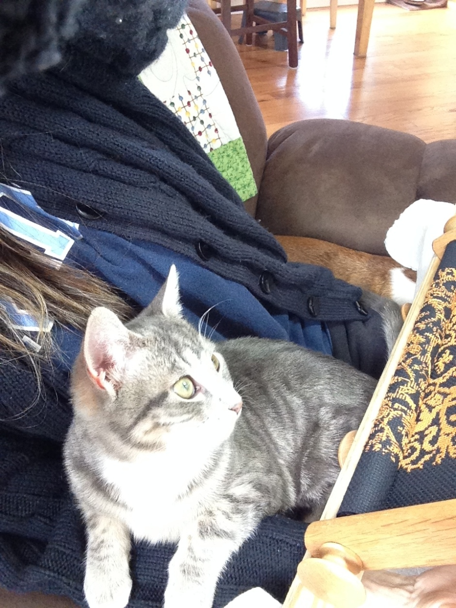 Emerson helps with cross stitching